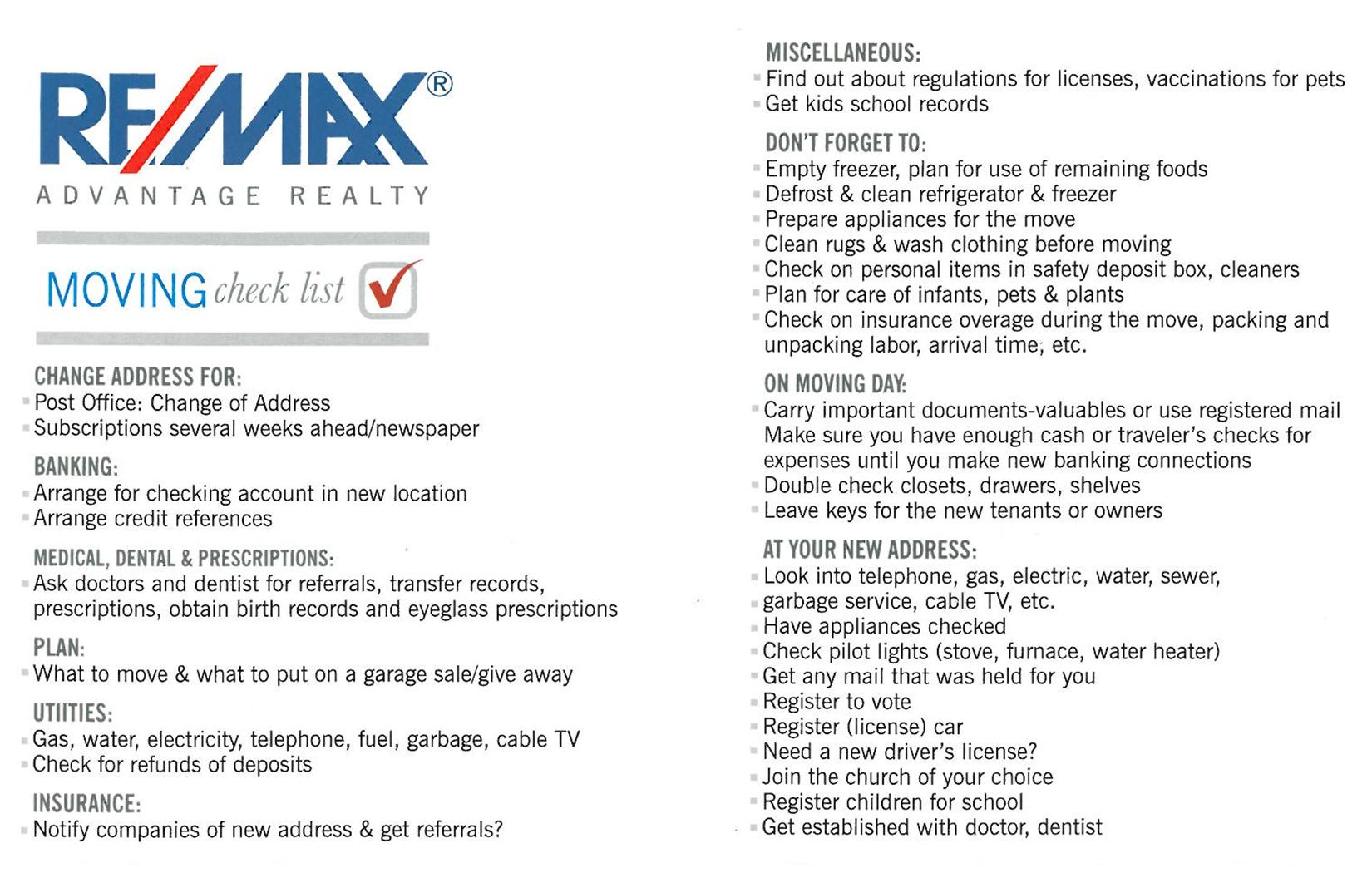 Moving Checklist ReMax Advantage Realty Dubuque IA – Moving Checklist